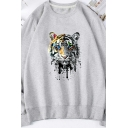Cool Hoodie Tiger Print Embroidery Designed Long-sleeved Round Collar Loose Fitted Pullover Sweatshirt for Men