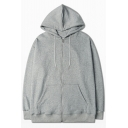 Athletic Men's Hoodie Solid Color Drawstrings Front Pocket Detailed Regular Long-sleeved Zipper Hoodie