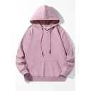 Leisure Hoodie Solid Drawcord Front Pocket Rib Cuffs Long Sleeves Loose Fit Hoodie for Men