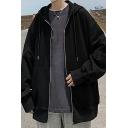 Men Chic Hoodie Solid Drawstring Side Pocket Zipper Placket Long-sleeved Loose Hoodie