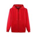 Basic Mens Hoodie Solid Color Long Sleeve Drawstring Detail Regular Fit Zip-up Hoodie