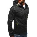 Sporty Mens Hoodie Solid Color Zipper Detail Drawstring Long Sleeve Regular Fit Zip-up Hoodie