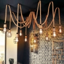 6/10-Head Caged Swag Pendant Lighting Rustic Brown Natural Rope Hanging Ceiling Light
