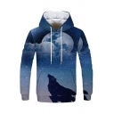 Popular Hoodie Wolf Printed Drawstring Big Pocket Ribbed Cuffs Long Sleeves Relaxed Hoodie for Boys