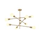 Sputnik Chandelier Lamp Post Modern Metallic 8+1 Lights Hanging Light in Black/Gold