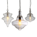 1 Light Spool Pendant Lamp Modern Fashion Clear Glass Art Deco Suspended Lamp for Porch