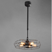 Suspension Industry Wrought Iron Fan Five-light LED Pendant