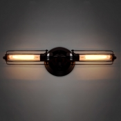 Antique Copper LED Wall Sconce with Wire Cage Shade Rustic Metal 2 Light Wall Lamp in Retro Style
