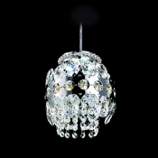 Modern and Bold Globe Shape Clear Crystal Strands and Beads Sparkling Mini Pendant Light