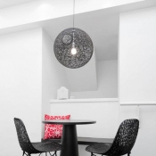 Mini Black Linen Wire Globe Suspension Pendant Light