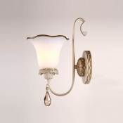 Elegant Scrolling Arm and Beautiful Crystal Drop Composed Dazzling European Style Single-light Wall Sconce