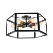 Six Light Black LED Flush Mount Ceiling Light with Glass Shade