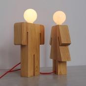 Novelty and Lovely Human Shape Wooden Designer Table Lamp