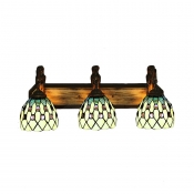 Beige Pattern 24 Inch Bathroom Vanity Lighting in Tiffany Stained Glass Style