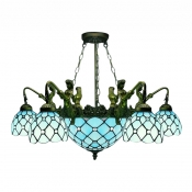 Mermaid Armed Blue Stained Glass Tiffany Five-light Chandelier with Center Bowl