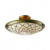 Metal Decor Beige Stained Glass Tiffany Three-light Semi Flush Mount Ceiling Light