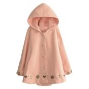 Hooded Cartoon Patterned Turn Up Cuff Loose Long Tweed Coat