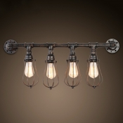 4 Light Pipe LED Wall Sconce with Cage