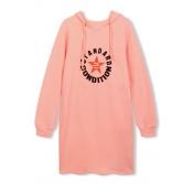 Hooded Letter & Star Print Long Sleeve Tunic Sweatshirt