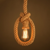 Simple Natural Rope 1 Light LED Ceiling Pendant