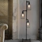 Lantern 3 Light Floor Lamp in Weathered Iron Industrial 60
