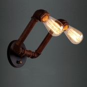 Two Lights Indoor Pipe LED Wall Sconces in Weathered Iron Finish