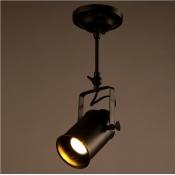 Cylinder 1 Light Semi Flush Spotlight in Matte Black for Clothes Stores Restaurant Kitchen