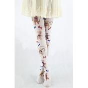 White High Waist Cute Bear Print Stripes Pantyhose
