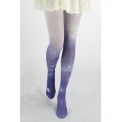 Color Block Ombre Galaxy Print Skinny Pantyhose