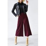 Plain High Waist Wide Leg Cropped Pants
