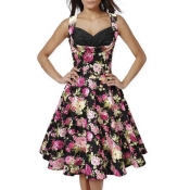 50s60s Vintage Floral Print Divinity Rockabilly Fit & Flare Retro Dresses