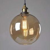 Amber Glass Globe Pendant Light in Aged Brass Vintage Single Light Pendant for Foyer Kitchen Restaurant
