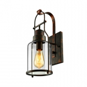 Rustic Country Style Jar Wall Light in Clear Glass Shade for Outdoor Warehouse Barn