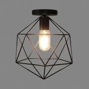 Cage Style Diamond Shape Semi Flush Ceiling Light in Black
