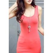 Women's Plain Basic Sleeveless Scoop Neck Bodycon Vest Dress