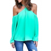 Women's Spaghetti Halter Off The Shoulder Blouse Long Sleeve Shirt Tops