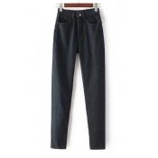 Women's Boyfriend Style Plain High Waist Leisure Harem Jeans
