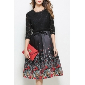Elegant Half Sleeve Lace Patchwork Zip Back Floral Printed Midi A-Line Dress