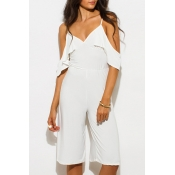 Spaghetti Straps Cold Shoulder Summer's Plain Wide Legs Rompers