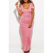 Scoop Neck Short Sleeve Cold Shoulder Striped Print Maxi Bodycon Beach Dress