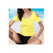 New Sexy Cold Shoulder Short Sleeve Round Neck Plain T-Shirt