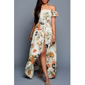 Fashion Sexy Off the Shoulder Short Sleeve Floral Printed Split Front Swallow-Tailed Rompers