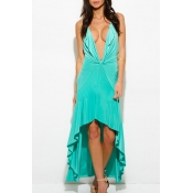 New Sexy Plunge V-Neck Sleeveless High Low Hem Plain Asymmetric Dress
