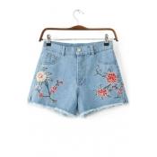High Waist Retro Floral Embroidered Slit Side Fringe Trim Denim Shorts