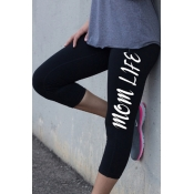 Elastic Waist Letter Printed Skinny Sports Capris Leggings