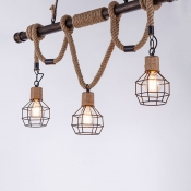 Antique Bronze Hemp Rope Chandelier Industrial Retro Linear 3 Light Pendant with Wire Cage