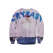 Letter Crying Girl Printed Round Neck Long Sleeve Chic Pullover Sweatshirt for Couple