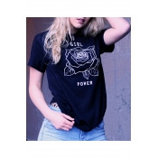Summer Arrival GIRL POWER Floral Printed Short Sleeve Round Neck Tee