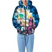 New Arrival Stylish Digital Floral Printed Long Sleeve Unisex Hoodie