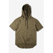 New Fashion Ripped Cut Out Plain Hooded Short Sleeve Basic Loose Tee